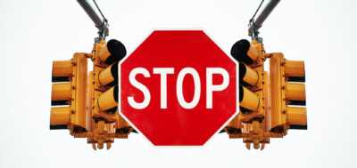 Traffic Light With Stop Sign