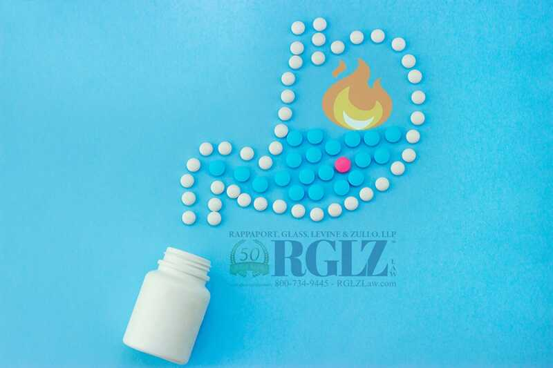 Blue and White Heartburn Medications